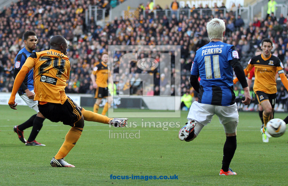 Picture by Richard Gould/Focus Images Ltd +44 7855 403186.03/11/2012.Sone Aluko of Hull City scores the games first goal during the npower Championship match at the KC Stadium, Kingston upon Hull.