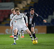Dundee&rsquo;s Kevin Holt holds off Ross County's James O'Brien - Ross County v Dundee in the Ladbrokes Scottish Premiership at The Global Energy Stadium, Dingwall, Photo: David Young<br /> <br />  - &copy; David Young - www.davidyoungphoto.co.uk - email: davidyoungphoto@gmail.com