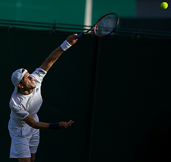 LONDON, ENGLAND - Tuesday, June 21, 2011:  Jurgen Melzer (AUT) in action during the Gentlemen's Singles 1st Round match day two of the Wimbledon Lawn Tennis Championships at the All England Lawn Tennis and Croquet Club. (Pic by David Rawcliffe/Propaganda)