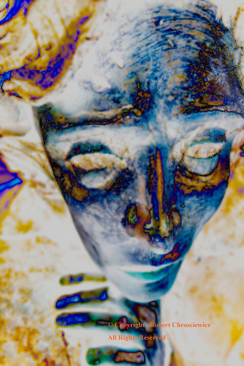 Far Away Eyes, Blue: Close-up and blue; this cold metallic figure is a study of tortured introspection, Gardiner Oregon USA.