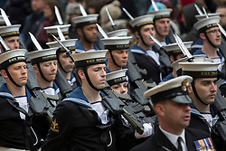 © licensed to London News Pictures. London, UK 10/11/2012. Soldiers marching at Lord Mayor's Show to accompany the 685th Lord Mayor of London on 10/11/12. This year's procession is over three and a half miles long and includes over 6500 people, 22 marching bands, 125 horses, 18 vintage cars and 21 carriages. Photo credit: Tolga Akmen/LNP