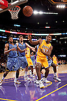 06 November 2009: Forward Ron Artest of the Los Angeles Lakers reaches for a rebound against the Memphis Grizzles during the second half of the Lakers 114-98 victory over the Grizzles at the STAPLES Center in Los Angeles, CA.