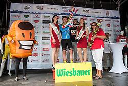 03.07.2017, Wien, AUT, Ö-Tour, Österreich Radrundfahrt 2017, 1. Etappe von Graz nach Wien (193,9 km), Siegerehrung, im Bild Stephan Rabitsch (AUT, Team Felbermayr Simplon Wels) mit dem Bergtrikot // Stephan Rabitsch of Austria (Team Felbermayr Simplon Wels) in the king of the mountains jersey on Podium during winner ceremony for the 1st stage from Graz to Vienna (193,9 km) of 2017 Tour of Austria. Wien, Austria on 2017/07/03. EXPA Pictures © 2017, PhotoCredit: EXPA/ Reinhard Eisenbauer