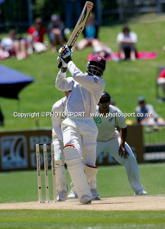 Chris Gayle watches the flight of his six. Second Test Match, National Bank Test Series. McLean Park, Napier. 22 December 2008,  Photo: John Cowpland/PHOTOSPORT