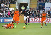 August 9th 2017, Dens Park, Dundee, Scotland; Scottish League Cup Second Round; Dundee versus Dundee United; Dundee's Marcus Haber rampages past a clutch of Dundee United players