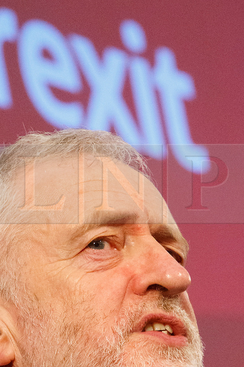 © Licensed to London News Pictures. 24/02/2017. London, UK. Labour leader JEREMY CORBYN gives a speech on Brexit at Savoy Place on 24 February 2017 following the Stoke-on-Trent and Copeland by-elections. Jeremy Corbyn's leadership is in question again as  Labour loses Copeland, one of its strongholds, to Tories. Photo credit: Tolga Akmen/LNP