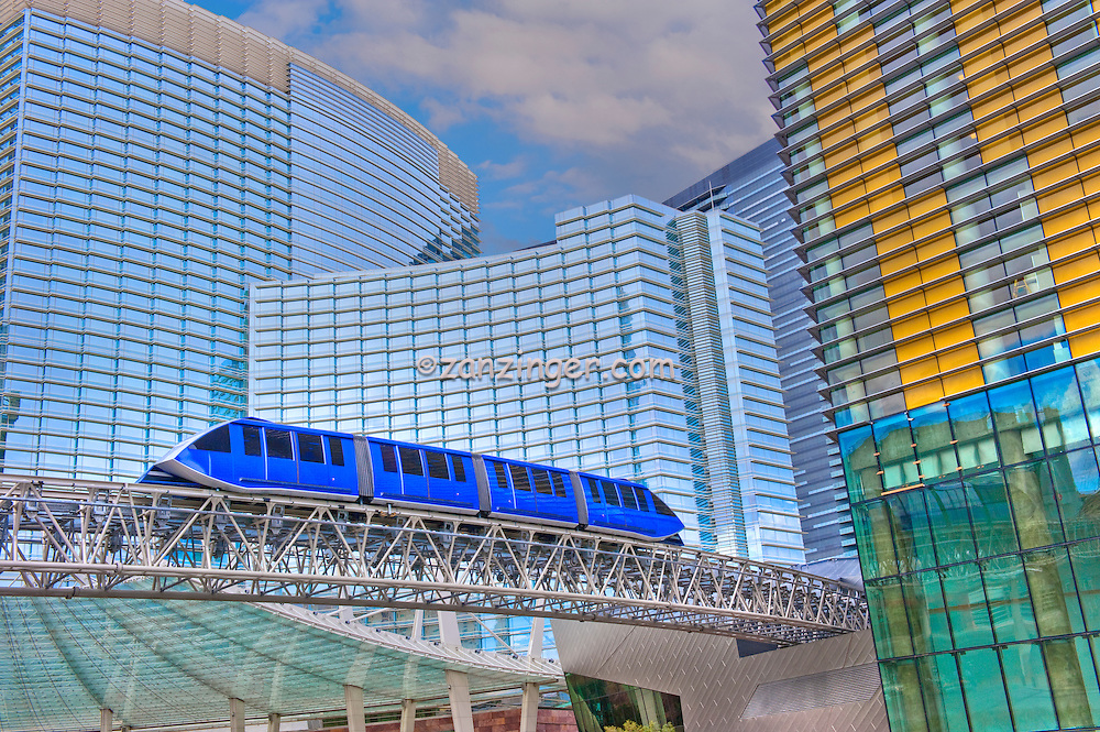 Aria & Vdara Hotel Resort, Veer Towers, CityCenter, Hi-Rise, Las Vegas, NV; Nevada; elevated train, Resort, Hospitality, Hospitality, Strip; gambling; shopping, Sunrise, Blue Sky, Travel, Destination, View, Unique, Quality