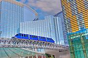 Aria & Vdara Hotel Resort, Veer Towers, CityCenter, Hi-Rise, Las Vegas, NV; Nevada; elevated train, Resort, Hospitality, Hospitality, Strip; gambling; shopping, Sunrise, Blue Sky, Travel, Destination, View, Unique, Quality