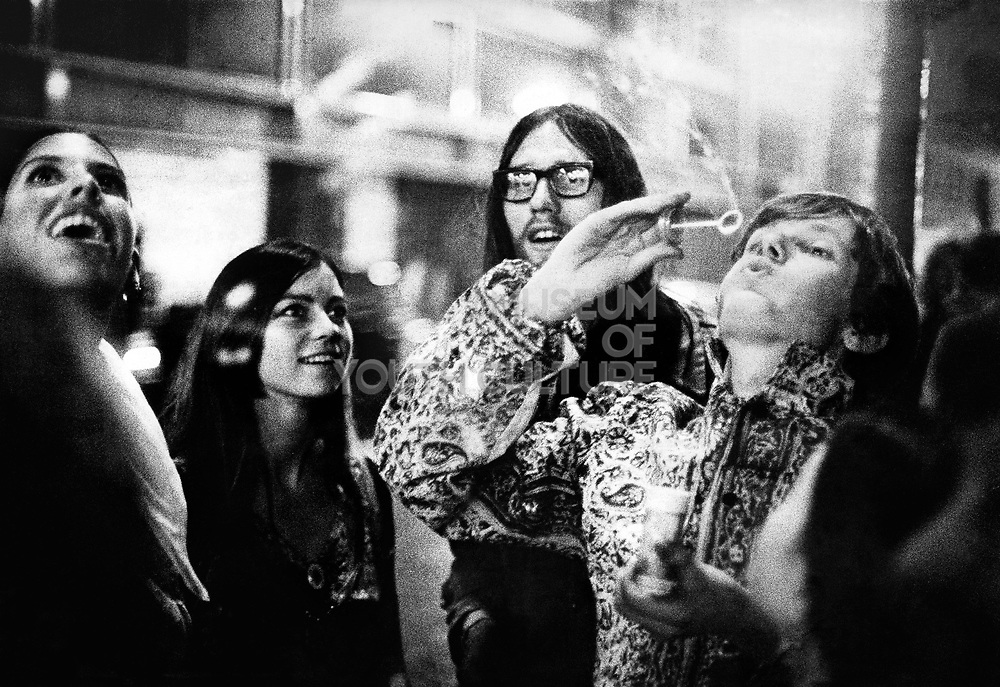 Psychedelic Hippies outside the UFO club, London 1968