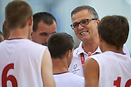 SO Poland basketball trainer coach speaks while basketball match SO Poland v SO Canada during second day of the Special Olympics World Games Los Angeles 2015 on July 26, 2015 on Galen Center at University of Southern California in Los Angeles, USA.<br /> USA, Los Angeles, July 26, 2015<br /> <br /> Picture also available in RAW (NEF) or TIFF format on special request.<br /> <br /> For editorial use only. Any commercial or promotional use requires permission.<br /> <br /> Adam Nurkiewicz declares that he has no rights to the image of people at the photographs of his authorship.<br /> <br /> Mandatory credit:<br /> Photo by © Adam Nurkiewicz / Mediasport