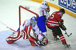 Goalkeeper of Norway Pal Grotnes, and Dany Heatley of Canada at play-off round quarterfinals ice-hockey game Norway vs Canada at IIHF WC 2008 in Halifax,  on May 14, 2008 in Metro Center, Halifax, Nova Scotia,Canada. (Photo by Vid Ponikvar / Sportal Images)