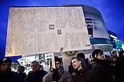 Frankfurt am Main | 02 Feb 2015<br /> <br /> Am Montag (02.02.2015) demonstrierten in Frankfurt an der Hauptwache etwa 60 PEGIDA-Anh&auml;nger mit teils extrem rassistischen Reden und Parolen z.B: gegen &quot;Islamisierung&quot;, an den Aktionen gegen die Rechtsextremisten nahmen mehrere tausend Menschen teil.<br /> Hier: Gegendemonstranten mit einem Transparent mit der Aufschrift 'Hab' eigentlich nichts g&auml;gen PEGIDA, abar...'.<br /> <br /> &copy;peter-juelich.com<br /> <br /> [No Model Release | No Property Release]
