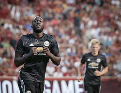 July 17, 2017 - Sandy, Utah, United States - Manchester United forward ROMELU LUKAKU (9) celebrates his first ever goal for the Red Devils during their friendly match against Real Salt Lake at Rio Tinto Stadium in Sandy, Utah, USA on Monday, July 17, 2017. (Credit Image: © Michael Mangum via ZUMA Wire)
