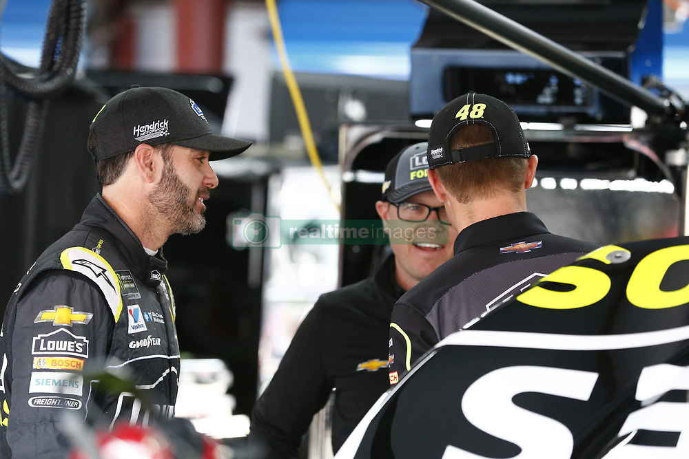 April 27, 2018 - Talladega, Alabama, United States of America - Jimmie Johnson (48) hangs out in the garage during practice for the GEICO 500 at Talladega Superspeedway in Talladega, Alabama. (Credit Image: © Justin R. Noe Asp Inc/ASP via ZUMA Wire)