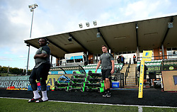 Nick Schonert of Worcester Warriors and Biyi Alo of Worcester Warriors arrive at Kingston Park ahead of the Aviva Premiership Season opener against Newcastle Falcons - Mandatory by-line: Robbie Stephenson/JMP - 01/09/2017 - RUGBY - Kingston Park - Newcastle upon Tyne, England - Newcastle Falcons v Worcester Warriors - Aviva Premiership