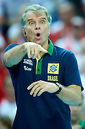 Brazil's trainer coach Bernardo Rezende while volleyball final match between Brazil and Poland during the 2014 FIVB Volleyball World Championships at Spodek Hall in Katowice on September 21, 2014.<br /> <br /> Poland, Katowice, September 21, 2014<br /> <br /> For editorial use only. Any commercial or promotional use requires permission.<br /> <br /> Mandatory credit:<br /> Photo by © Adam Nurkiewicz / Mediasport