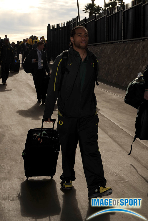 Jan 1, 2010; Pasadena, CA, USA; Oregon Ducks quarterback Jeremiah Masoli  arrives before the 2010 Rose Bowl against the Ohio State Buckeyes.