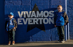 LIVERPOOL, ENGLAND - Monday, January 2, 2017: Everton fans outside Goodison Park which is bathed in winter sunshine before game against Southampton in the FA Premier League match at Goodison Park. (Pic by Gavin Trafford/Propaganda)