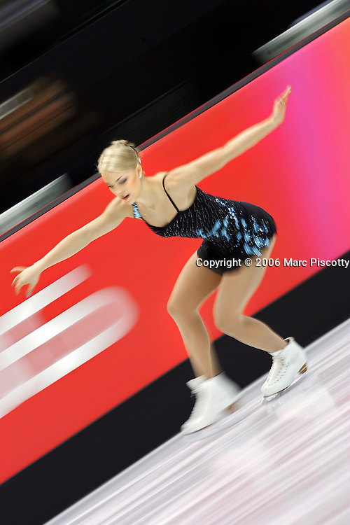 Finnish figure skater Kiira Korpi performs during the Women's Free Skating Program at the Palavela ice arena on Thursday February 23, 2006 in Turin, Italy at the 2006 Winter Olympics. U.S. figure skater Sasha Cohen led all skaters going into tonight's medal competition. Korpi finished 16th with a score of 137.20..(Photo by Marc Piscotty / © 2006)