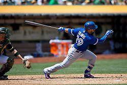 OAKLAND, CA - JULY 23:  Devon Travis #29 of the Toronto Blue Jays at bat against the Oakland Athletics during the fifth inning at O.co Coliseum on July 23, 2015 in Oakland, California. The Toronto Blue Jays defeated the Oakland Athletics 5-2. (Photo by Jason O. Watson/Getty Images) *** Local Caption *** Devon Travis