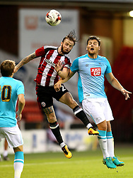 John Brayford of Sheffield United challenges Chris Martin of Derby County - Mandatory by-line: Matt McNulty/JMP - 27/07/2016 - FOOTBALL - Bramall Lane - Sheffield, England - Sheffield United v Derby County - Pre-season friendly
