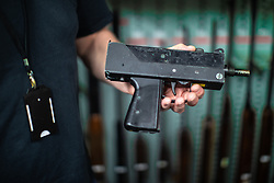 © Licensed to London News Pictures . 13/06/2019. Manchester , UK . A recovered Mach 10 automatic machine pistol . Inside Greater Manchester Police's weapons store at Claytonbrook in Openshaw where police issue firearms and recovered weapons are held . Photo credit : Joel Goodman/LNP
