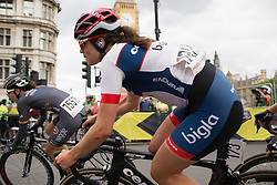 Joelle Numainville (CAN) of Cervélo-Bigla Cycling Team leans into the corner leading onto Whitehall during the Prudential RideLondon Classique, a 66 km road race in London on July 30, 2016 in the United Kingdom.