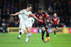Joshua King of Bournemouth under pressure from Michael Carrick of Manchester United - Mandatory by-line: Jason Brown/JMP - Mobile 07966 386802 12/12/2015 - SPORT - FOOTBALL - Bournemouth, Vitality Stadium - AFC Bournemouth v Manchester United - Barclays Premier League