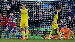 LONDON, ENGLAND - Saturday, February 21, 2015: Crystal Palace's Glenn Murray [L] looks dejected after seeing his injury time header hit the Arsenal post during the Premier League match at Selhurst Park. (Pic by David Rawcliffe/Propaganda)