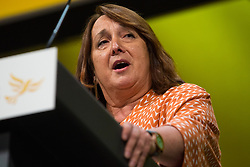Bournemouth, UK. 15 September, 2019. Christine Jardine, Liberal Democrat MP for Edinburgh West, speaks on the Stop Brexit motion during the Liberal Democrat Autumn Conference. Following a vote won by an overwhelming majority, the Liberal Democrats pledged to cancel Brexit if they win power at the next general election. This marks a shift in policy from their previous backing for a People's Vote. Credit: Mark Kerrison/Alamy Live News