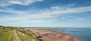 Küstenwanderweg mit Blick Richtung Barnville, Cap Carteret, Normandie, Frankreich