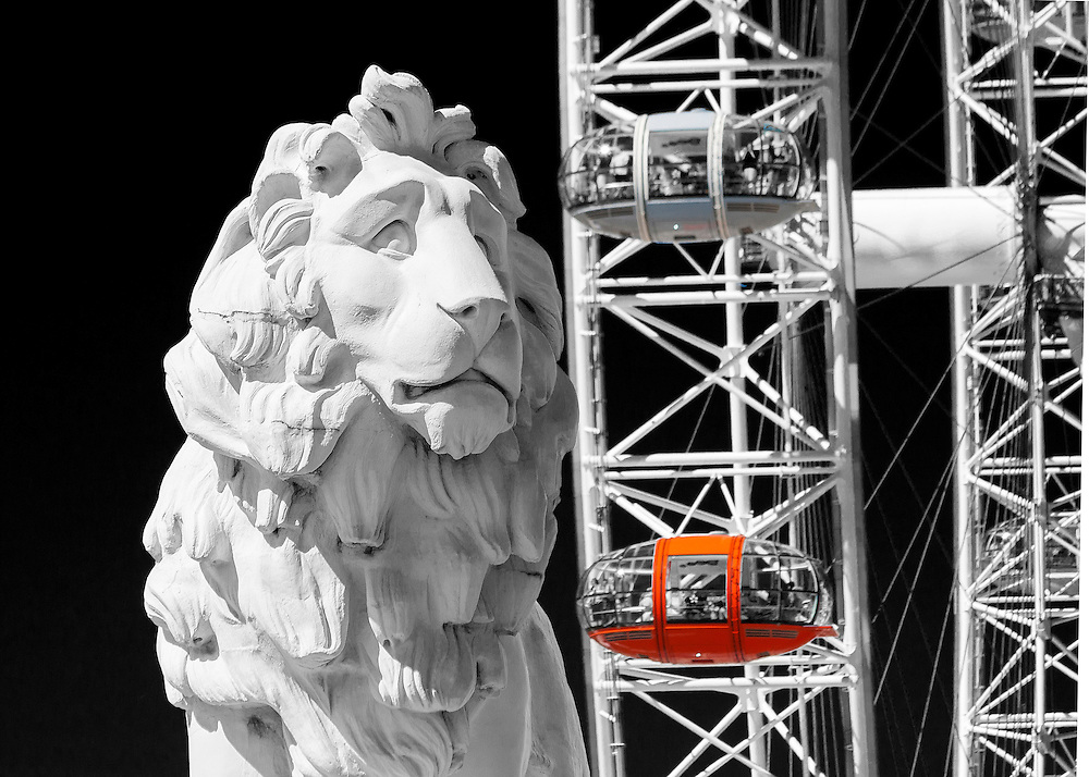 The South Bank Lion stands at the southern end of Westminster Bridge. Sculptured by William Frederick Woodington in 1837, the Lion originally stood outside Lion Brewery on the Southbank until 1924. The Lion is pictured in front of the London Eye.