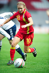 LLANELLI, WALES - Saturday, September 15, 2012: Wales' Sarah Wiltshire in action against Scotland during the UEFA Women's Euro 2013 Qualifying Group 4 match at Parc y Scarlets. (Pic by David Rawcliffe/Propaganda)