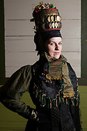 Anja, member of the 'Altenburger Folkloreensemble e.V.' is wearing an original traditional bridal costume in Altenburg, Thuringia, Germany on December 1st, 2016.<br /> <br /> The Bridal Crown is an original and from around 1750. Only pristine women were allowed to wear the bridal crown.<br /> <br /> This is part of the series about Traditional Wedding Gowns from different regions of Germany, worn by young members of local dance groups and cultural associations that exist to preserve and celebrate the cultural heritage. The portraiture series is a depiction of an old era with different social values and religious beliefs in an antiquated civil society with very few of those dresses left.