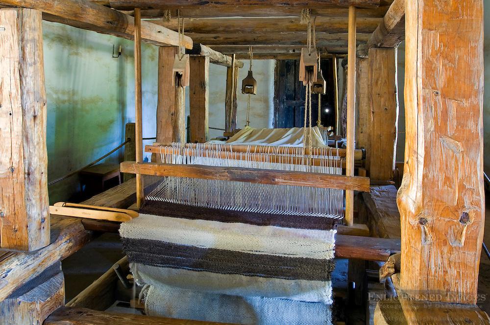 Traditional antique wooden weaving loom, La Purisma Mission State Historical Park, near Lompoc, Santa Barbara County, California