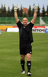 Goalkeeper of Olimpija Robert Volk celebrates after football match of 2nd SNL between NK Olimpija Ljubljana and NK Zagorje, on May 03, 2009, in ZAK stadium, Ljubljana, Slovenia. Olimpija won 9:0 and 4 Rounds before the end won the 1st place in 2nd SNL. Next year they will play in First Slovenian League. (Photo by Vid Ponikvar / Sportida)