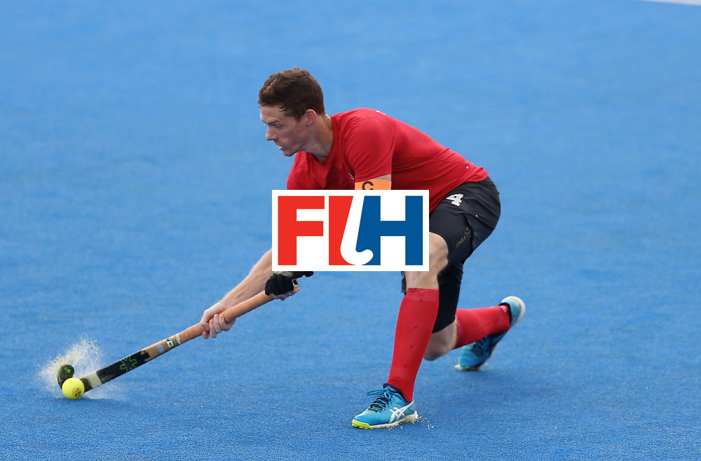 LONDON, ENGLAND - JUNE 25: Tupper Scott of Canada in action during the 5th/6th place match between India and Canada on day nine of the Hero Hockey World League Semi-Final at Lee Valley Hockey and Tennis Centre on June 25, 2017 in London, England. (Photo by Steve Bardens/Getty Images)