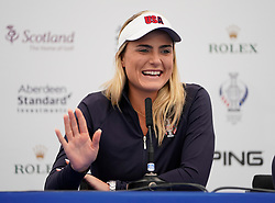 Auchterarder, Scotland, UK. 12 September 2019. Press conference with Team Europe players for the 2019 Solheim Cup. Pictured; Lexi Thompson. Iain Masterton/Alamy Live News