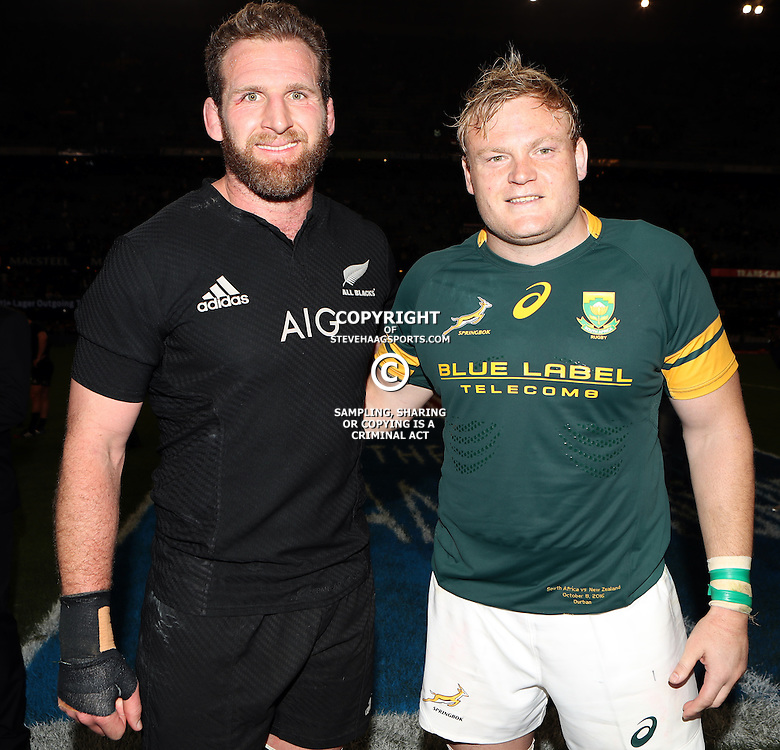 DURBAN, SOUTH AFRICA, 8 October, 2016 - Kieran Read (captain) of New Zealand with Adriaan Strauss (captain) of South Africa during the Rugby Championship match between South Africa and New Zealand at Kings Park in Durban, South Africa. (Photo by Steve Haag)