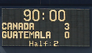 16 June 2007: The scoreboard shows the final score. The Canada Men's National team defeated the Guatemala Men's National Team 3-0 at Gillette Stadium in Foxboro, Massachusetts in a 2007 CONCACAF Gold Cup quarterfinal.
