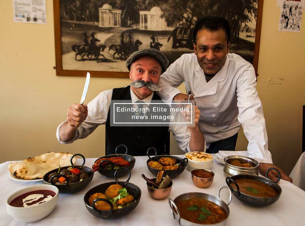 Pictured: Paw Broon can't wait to get stuck into the dishes prepared by owner of the Raj Restaurant Tommy Miah<br /> <br /> Paw Broon, complete with his iconic flat cap and moustache, linked up with Tommy Miah, owner of the Raj Restaurant in Blackhall, Edinburgh, which is holding an evening of entertainment and food, with recipes straight from 'Maw Broon's Cookbook', with an Indian twist. <br /> Ger Harley   EEm 30 January 2017