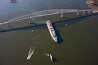 Overhead view of Carnival Pride Cruising under Key Bridge , Baltimore, MD