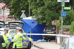 © Licensed to London News Pictures. 31/08/2016<br /> Two people dead after being hit by a car in police chased in Penge South East,London.<br /> THE INCIDENT HAPPENED AT 2PM IN Lennard Road,Penge.<br /> <br /> <br /> <br /> (Byline:Grant Falvey/LNP)
