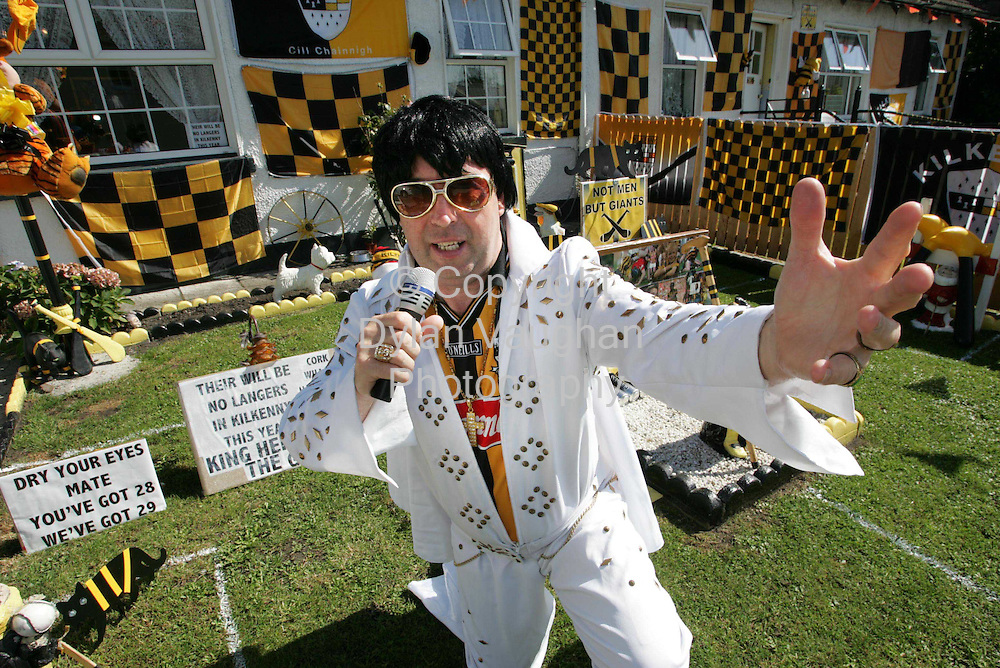 7/9/2004.Kilkennys own Elvis Myles Kavanagh pictured showing his support for the Kilkenny Team at his home in Kilkenny city yesterday..Picture Dylan Vaughan