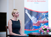 Wife of Monaco's Prince Albert II, Princess Charlene of Monaco attends a meeting with participants of Special Olympics in Belwedere palace in Warsaw on October 17, 2012..The mission of Special Olympics is to provide sports training and athletic competition for children and adults with intellectual disabilities...Poland, Warsaw, October 17, 2012..Picture also available in RAW (NEF) or TIFF format on special request...For editorial use only. Any commercial or promotional use requires permission...Photo by © Adam Nurkiewicz / Mediasport