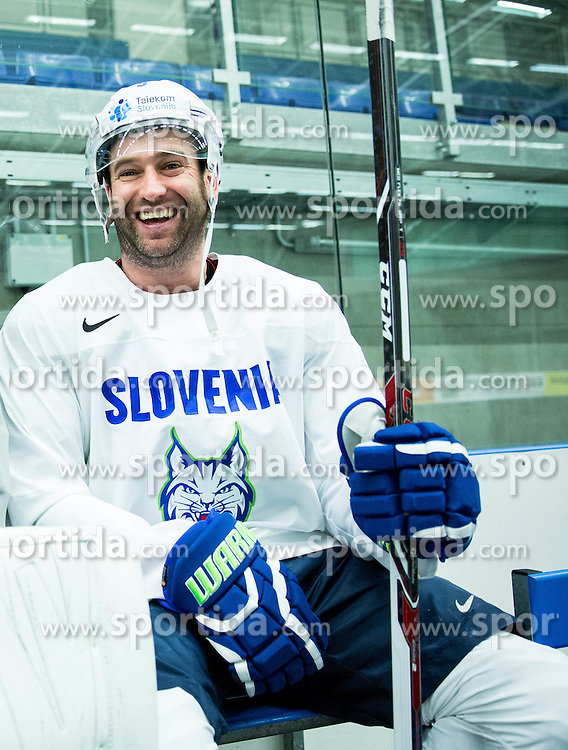 Tomaz Razingar of Slovenia during practice session of Slovenian Ice Hockey National Team at Day 4 of 2015 IIHF World Championship, on May 4, 2015 in Practice arena Vitkovice, Ostrava, Czech Republic. Photo by Vid Ponikvar / Sportida