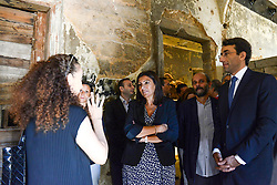 "Paris Mayor Anne Hidalgo (center) seen during visit to ""Beit Beirut"" foundation and museum, also known as ""La Maison jaune"" or ""The Yellow House"", in Beirut, Lebanon, on September 29, 2016. ""Beit Beirut"" is a project that is helped and funded by Paris City to keep a place for the memory of Beirut and of Lebanon's civil war (1975-1990) in this building once located on the ""green line"" that used to separate the city in two parts. Photo by Balkis Press/ABACAPRESS.COM"