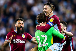 Jack Grealish of Aston Villa and Jed Steer of Aston Villa celebrate after their side win on penalties against West Bromwich Albion to book their place in the Sky Bet Championship Playoff Final - Mandatory by-line: Robbie Stephenson/JMP - 14/05/2019 - FOOTBALL - The Hawthorns - West Bromwich, England - West Bromwich Albion v Aston Villa - Sky Bet Championship Play-off Semi-Final 2nd Leg