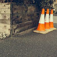 Luminous traffic cones on tarmac surface
