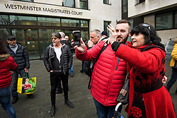 © Licensed to London News Pictures. 19/03/2019. London, UK. Yellow Vest protestor JAMES GODDARD is greeted by supporters as he arrives at Westminster Magistrates Court in London where he is charged with harassing MP Anna Soubry and two public order offences against a police officer.  Photo credit: Ben Cawthra/LNP